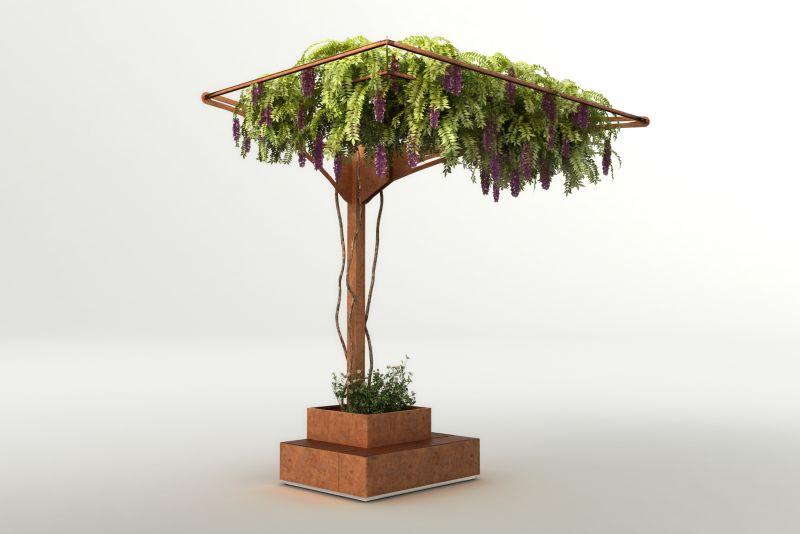 Arredo integrato con fioriera, seduta e frangisole per piante rampicanti